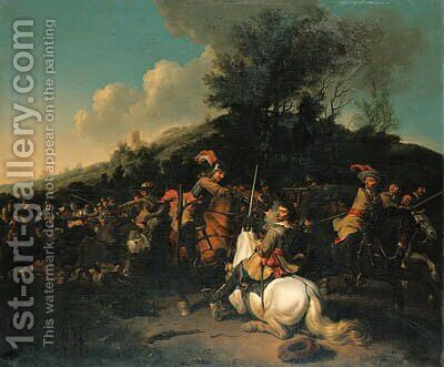 A cavalry skirmish by Abraham Van Calraet - Reproduction Oil Painting