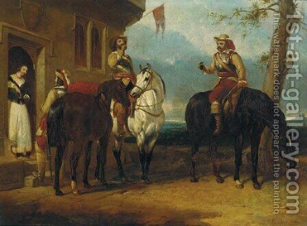 Two mounted cavaliers and another drinking ale outside an inn by Abraham Cooper - Reproduction Oil Painting
