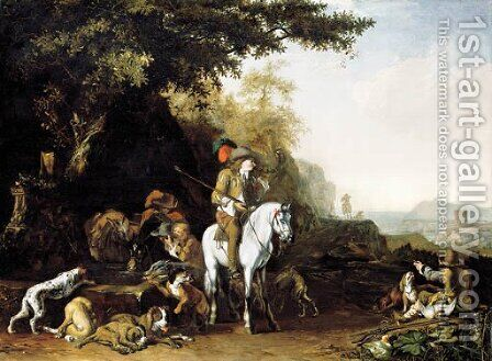 An extensive landscape with a hunting party resting by a water trough and a sportsman shooting by Abraham Danielsz. Hondius - Reproduction Oil Painting