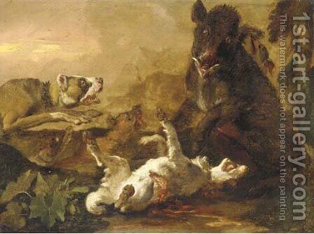 Dogs attacking a boar in a landscape by Abraham Danielsz. Hondius - Reproduction Oil Painting