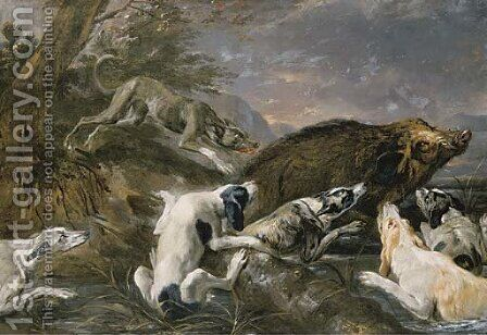 Hounds attacking a boar in a river landscape by Abraham Danielsz. Hondius - Reproduction Oil Painting
