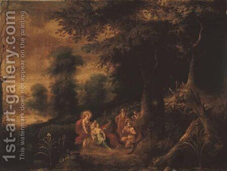 A wooded landscape with the Judgement of Midas by Abraham Govaerts - Reproduction Oil Painting