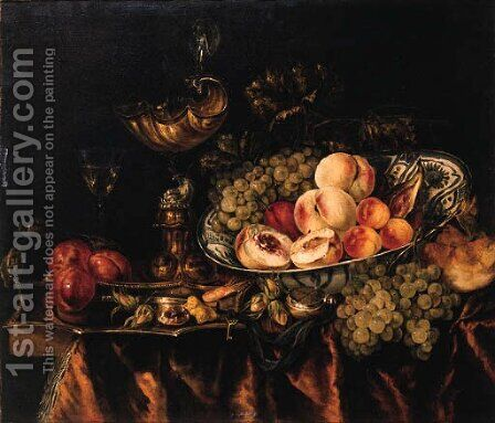 Peaches, grapes, apricots, a fig and a plum in a wan-li - dish, a bun, grapes, a fob-watch, a shrimp, hazelnuts, plums and sweetmeat on a puntschotel by Abraham Hendrickz Van Beyeren - Reproduction Oil Painting