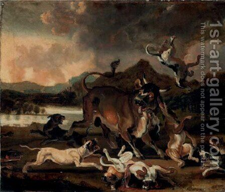 Hounds attacking a bull in a river landscape by Abraham Danielsz Hondius - Reproduction Oil Painting