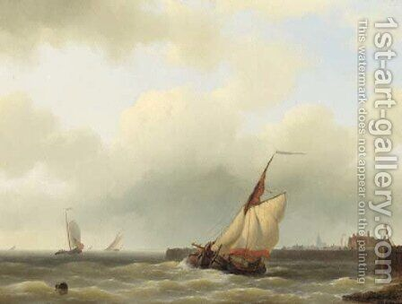 A Zwartewaalse Gaffelaar leaving port by Abraham Hulk Jun. - Reproduction Oil Painting