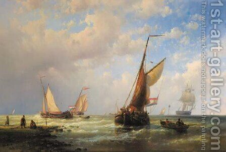 Dutch fishingboats setting out to sea with fishermen on the shore by Abraham Hulk Jun. - Reproduction Oil Painting