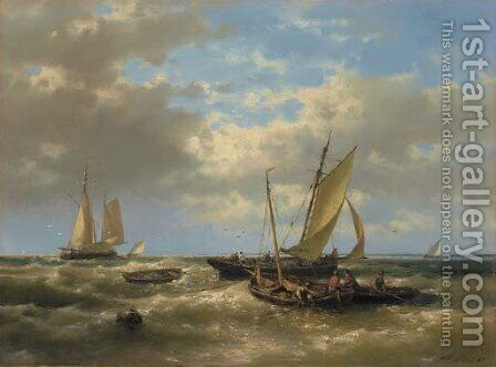 Hauling in the nets by Abraham Hulk Jun. - Reproduction Oil Painting