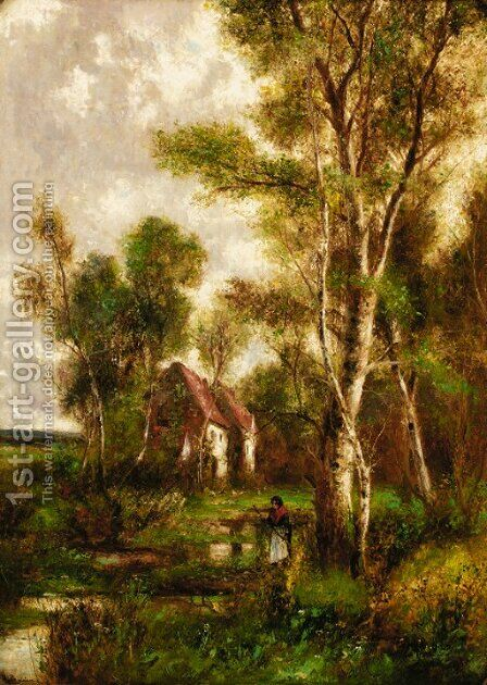 A wooded landscape with a peasant before a cottage by Abraham Hulk Jun. - Reproduction Oil Painting