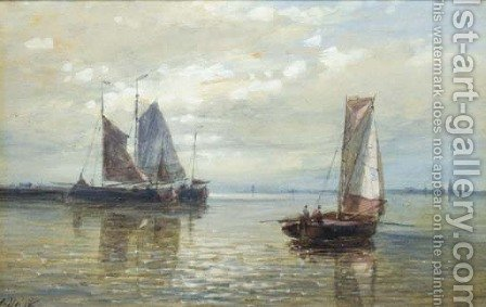 Sailing vessels in a calm by Abraham Hulk Snr - Reproduction Oil Painting