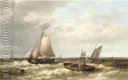 Ships on a choppy sea by an estuary by Abraham Hulk Jun. - Reproduction Oil Painting
