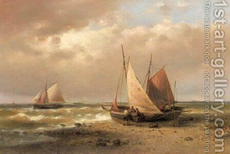 Sailors standing by a beached sailingvessel by Abraham Hulk Snr - Reproduction Oil Painting