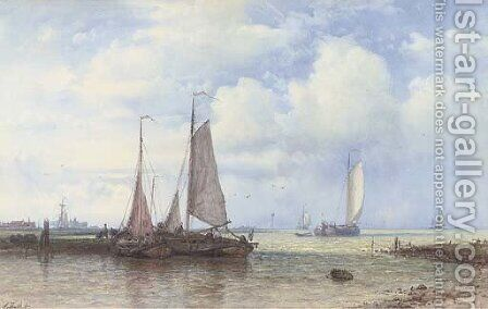 Barges on the Scheldt in the early morning light by Abraham Hulk Snr - Reproduction Oil Painting