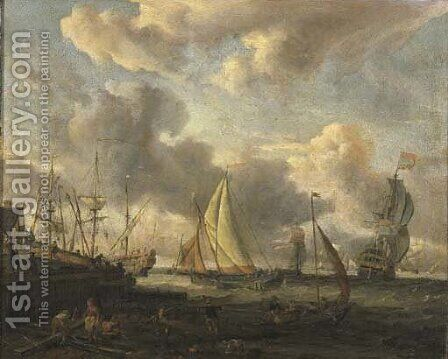A seascape with a Dutch shipping yard near a port by Abraham Storck - Reproduction Oil Painting