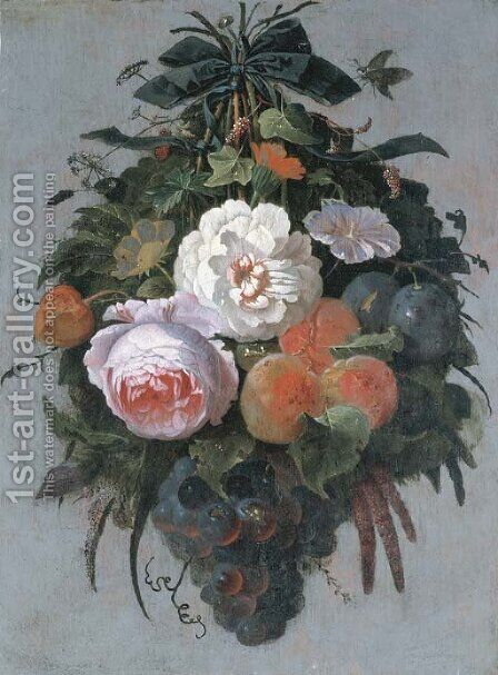 A swag of fruit and flowers hanging from a nail by Abraham Mignon - Reproduction Oil Painting