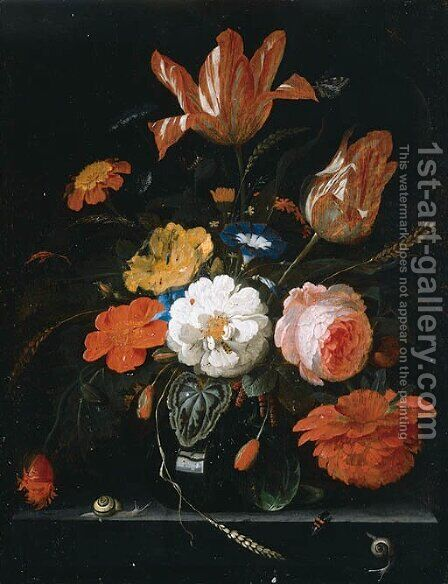 Vase of flowers 2 by Abraham Mignon - Reproduction Oil Painting