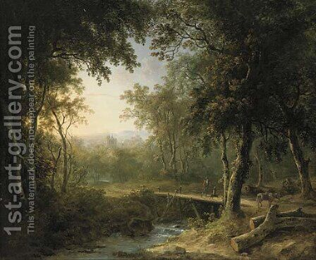A figure on a bridge before a village at dusk by Abraham Pether - Reproduction Oil Painting
