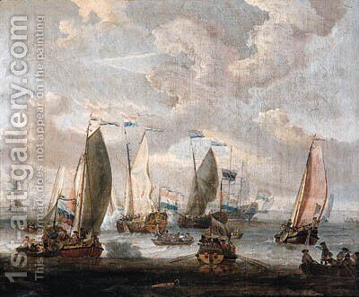 State yachts, rowing boats and other shipping, welcoming the arrival of merchantmen from the West Indian Company on the Y, Amsterdam by Abraham Storck - Reproduction Oil Painting