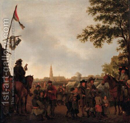 Officers and townsfolk at an encampment outside Breda by Abraham Van Calraet - Reproduction Oil Painting