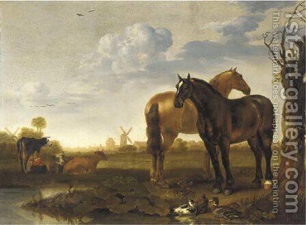 Two horses and a milkmaid with cows in a landscape with a pond, a view of a city beyond by Abraham Van Calraet - Reproduction Oil Painting