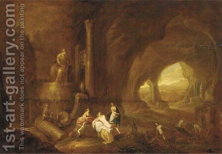 The interior of a grotto with nymphs bathing by Abraham van Cuylenborch - Reproduction Oil Painting