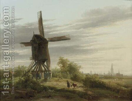 A Spinnekopmolen in a meadow by Abraham Van Der Wayen Pieterszen - Reproduction Oil Painting