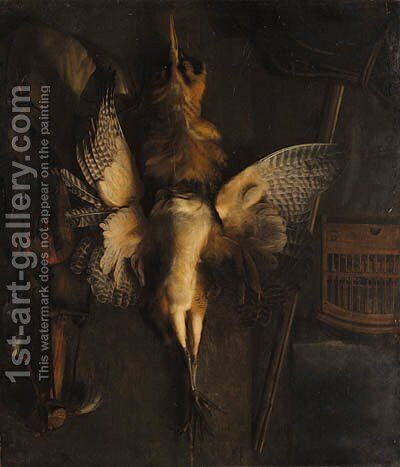 A hunting still life with a dead bittern and implements of the chase by Abraham van Dyck - Reproduction Oil Painting