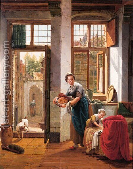 A mother with her children in the hall of a town house by Abraham van, I Strij - Reproduction Oil Painting