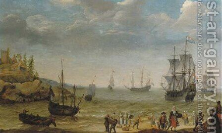 A rocky coastal scene with fisherfolk bringing in their catch, a Man-of-War and other shipping offshore by Abraham Willaerts - Reproduction Oil Painting