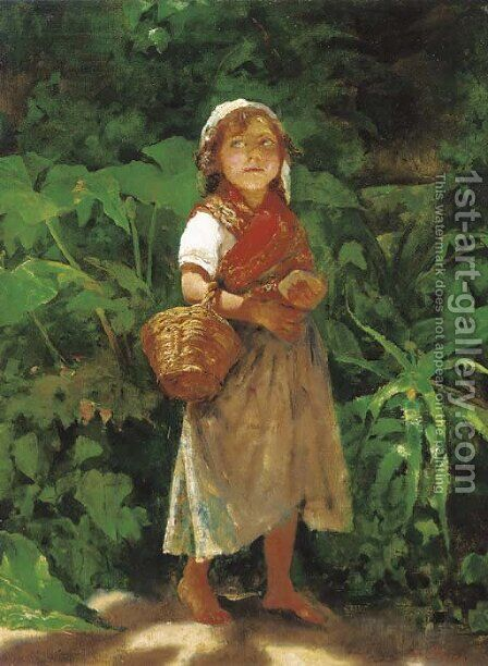 A Mediterranean waif standing in the shade by Achille Boschi - Reproduction Oil Painting