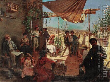 On the veranda by Achille Mollica - Reproduction Oil Painting