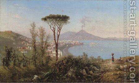 Naples and Castello dell'Ovo with Mount Vesuvius beyond by Achille Solari - Reproduction Oil Painting
