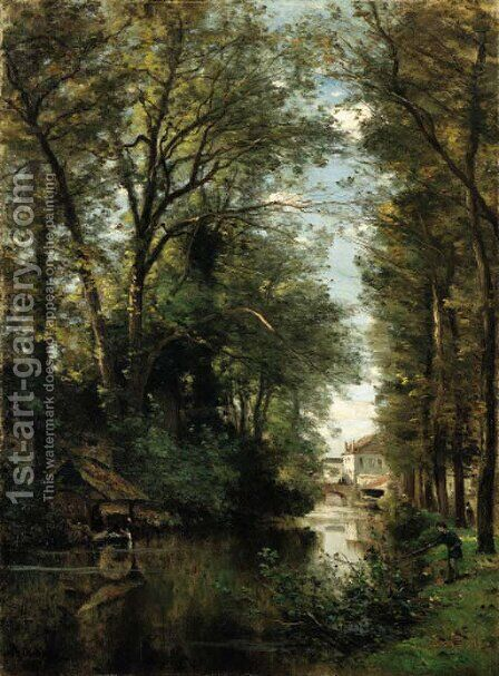 Figures along a wooded canal by Achille-Francois Oudinot - Reproduction Oil Painting