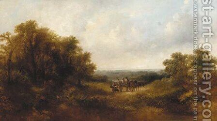 Figures in a horse and cart in an extensive landscape by Adam Barland - Reproduction Oil Painting