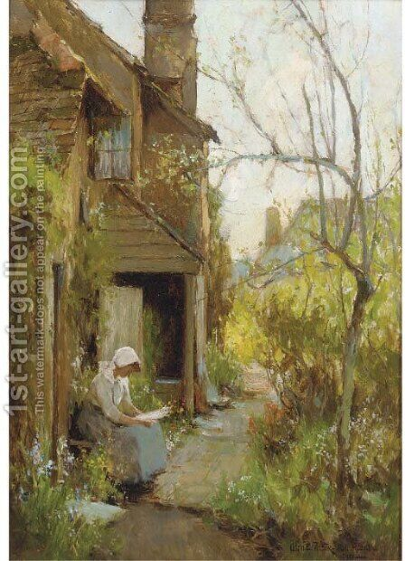 A Shere cottage, Surrey by Adam Edwin Proctor - Reproduction Oil Painting