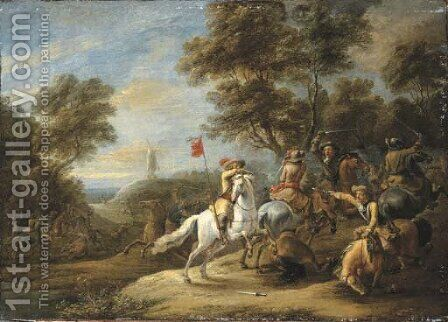 A cavalry skirmish with a windmill on a hill beyond by Adam Frans van der Meulen - Reproduction Oil Painting