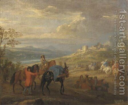 An extensive river landscape with a cavalry troop on a path, a ruined castle beyond by Adam Frans van der Meulen - Reproduction Oil Painting