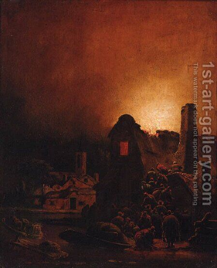 A fire in a village at night by Adam Colonia - Reproduction Oil Painting