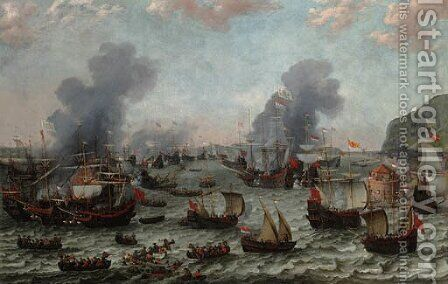 The Battle of Gibraltar, 25 April 1607 by Adam Willaerts - Reproduction Oil Painting