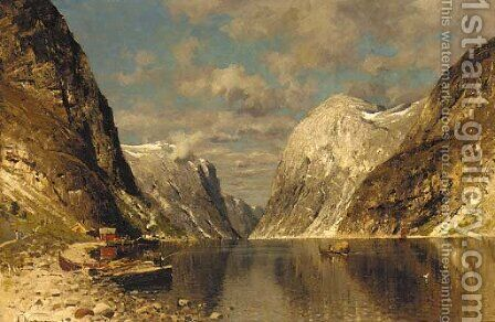 A fjord on a Summer's day by Adelsteen Normann - Reproduction Oil Painting
