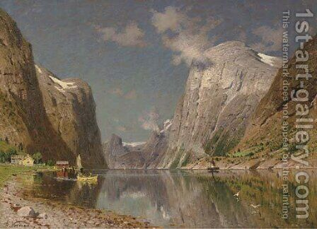View of a Fjord 3 by Adelsteen Normann - Reproduction Oil Painting