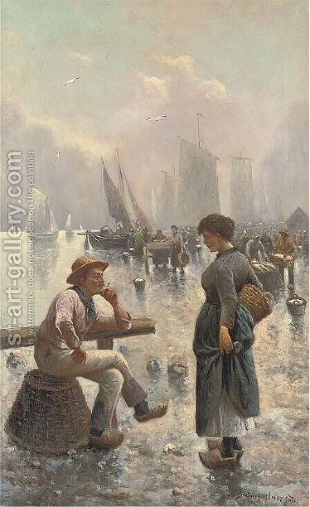 At the fish market by Adolf Baumgartner-Stoiloff - Reproduction Oil Painting