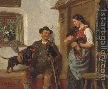 Admiring the puppies by Adolf Eberle - Reproduction Oil Painting