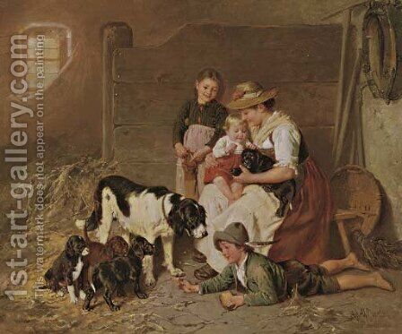 The New Puppies by Adolf Eberle - Reproduction Oil Painting
