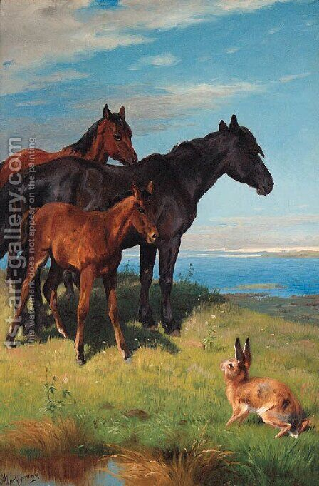 Ponies and a Hare overlooking the Sea by Adolf Henrik Mackeprang - Reproduction Oil Painting