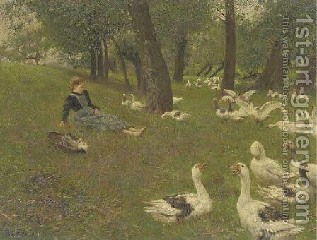 The Goose Girl by Adolf Lins - Reproduction Oil Painting