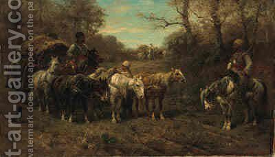 A Halted Caravan by Adolf Schreyer - Reproduction Oil Painting