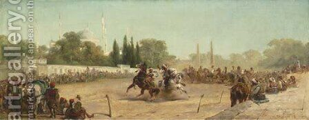 A Horse Race in the Hippodrome before the Mosque of Sultan Ahmet, Constantinople by Adolf Schreyer - Reproduction Oil Painting