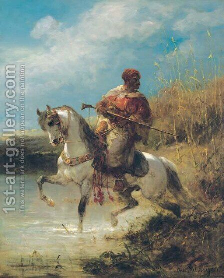 Arab horseman by Adolf Schreyer - Reproduction Oil Painting