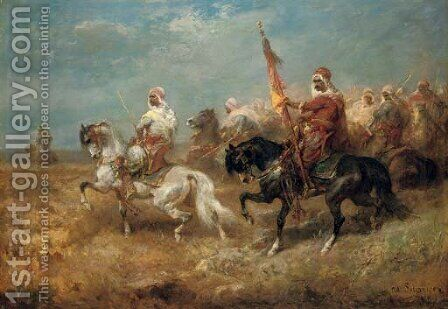 Arab warriors on horseback by Adolf Schreyer - Reproduction Oil Painting
