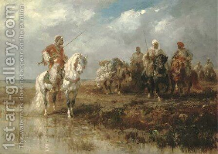 Oriental horseman by Adolf Schreyer - Reproduction Oil Painting
